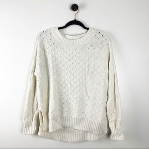 Gap Chunky Knit Crewneck Sweater Cream White Sz M